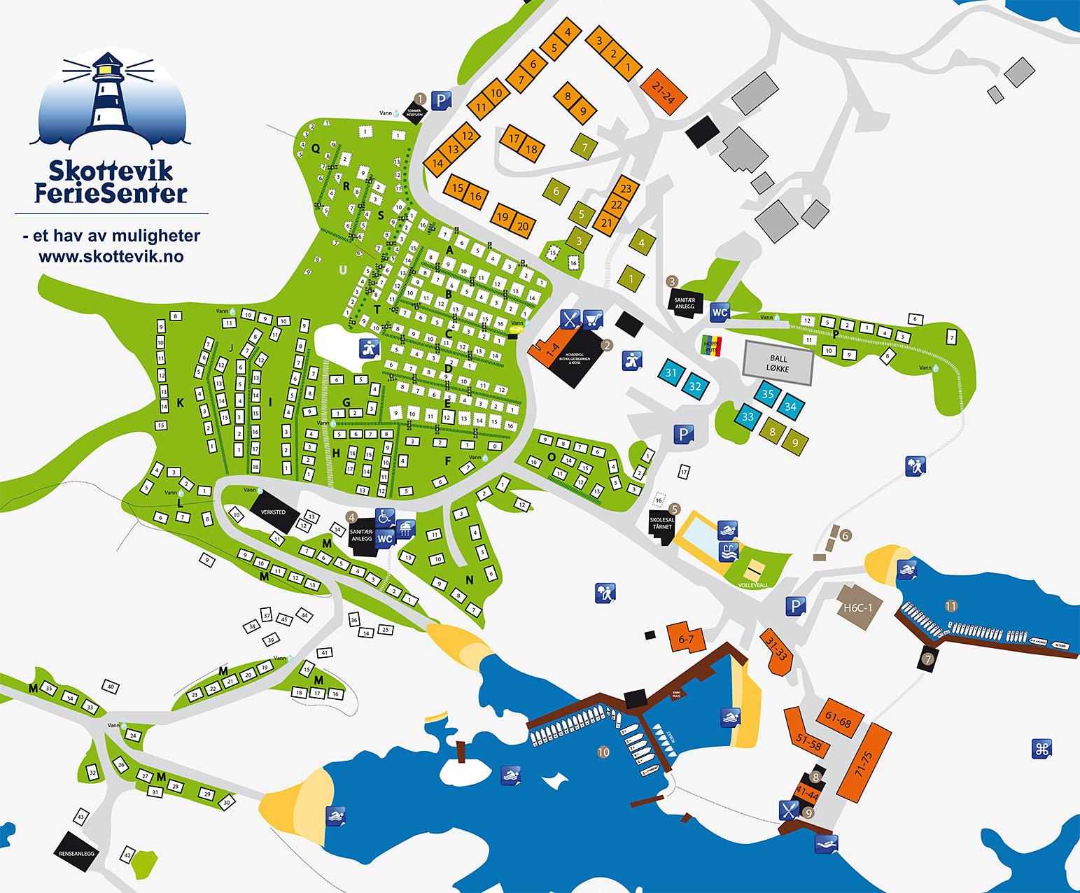 kart over campingplasser Områdekart for Skottevik Feriesenter   last ned merket kart over  kart over campingplasser